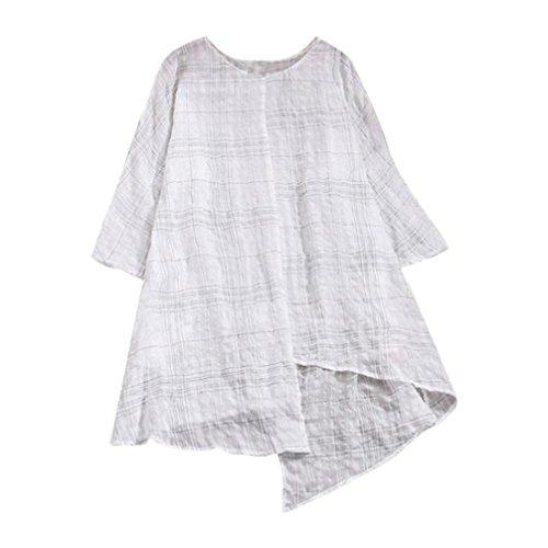 (SEWORLD 2018 Damen Mode Sommer Herbst Elegant Schal O-Ausschnitt Lose Baumwolle Leinen Dreiviertel Ärmel Kariertes Hemd Bluse Top (Weiß,EU-42/CN-2XL))