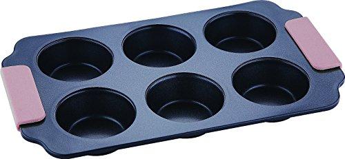 Bergner 6Coupe Anti-Adhésif Plateau à muffins en acier avec poignée en silicone de qualité supérieure Umber (Big-muffin-tin)