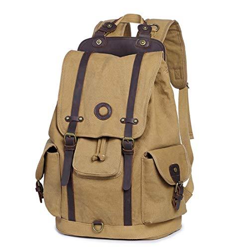JIANZ-backpack Daypacks Männer/Frauen Rucksack Daypack wasserdichte Vintage Kordelzug Leinwand Student Outdoor Shopping Reise Rucksäcke (Farbe : Khaki)