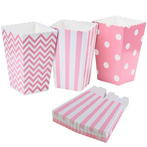 Vordas Popcorn Boxes, 36 Stück Popcorn Tüte Popcorn Candy Boxen Behälter für Party Snacks, Süßigkeiten, Popcorn und Geschenke - Rosa