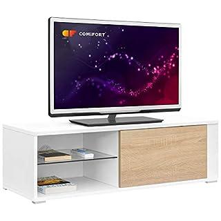 comifort tv80-Meuble TV Salon Moderne Table télévision, Couleurs: Blanc, Bois de chêne, Blanc/chêne, 100x 36x 32cm
