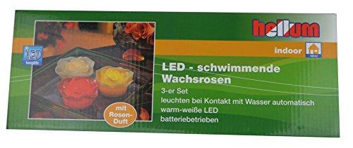 Hellum LED-rosas de cera real, diámetro 8 cm, 3 cm, con iluminación LED-blanco, conjunto de 3, rojo/amarillo/blanco 300352