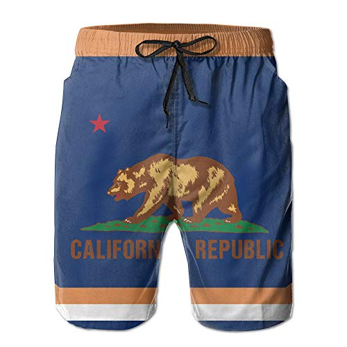 OPoplizg Men's California State Flag Bear Quick Dry Swim Trunks Casual Beach Board Shorts,M -