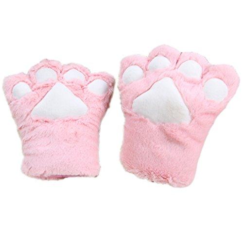 ELE GENS Damen Mädchen Handschuhe Plüsch Bär Katze Pfote Kostüm (Rosa)