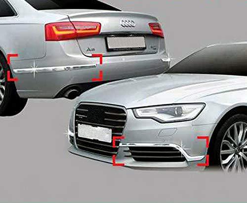Accessori per Audi A6 C7 a partire dal restyling del 2011, mascherine cromate per paraurti, modanature protettive per paraurti