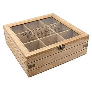 Boîte à thé 9 compartiments en bois et verre