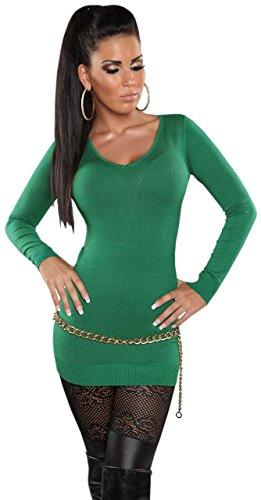 Pull avec col en v taille unique (32–38) Vert - Vert