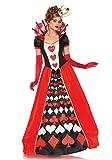 Karneval-Klamotten Herz-Königin Kostüm Damen Luxus lang Herzkönigin Kleid Spielkarte-n-Kostüm Karneval Damen-Kostüm Größe 44/46
