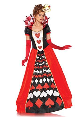 erz-Königin Kostüm Damen Luxus lang Herzkönigin Kleid Spielkarte-n-Kostüm Karneval Damen-Kostüm Größe 44/46 ()
