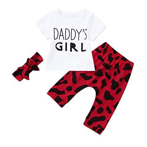 Babykleidung 3st MEIbax Baby Kleinkind Mädchen Vatertag Brief gedruckt T-Shirt + Hosen + Haarband Outfit Set
