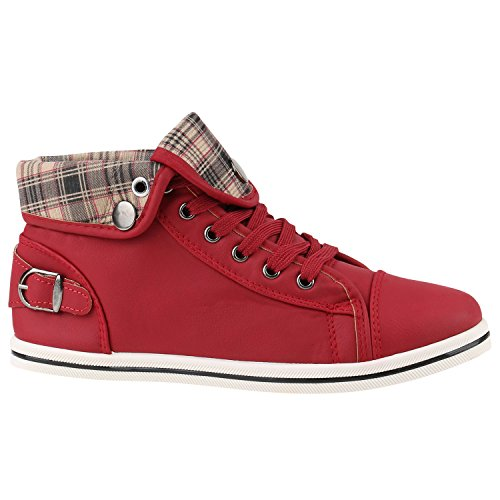 Sneakers Strass Karo Freizeit Top Damen High Sportschuhe Schuhe Rot RAWxdnqSOw
