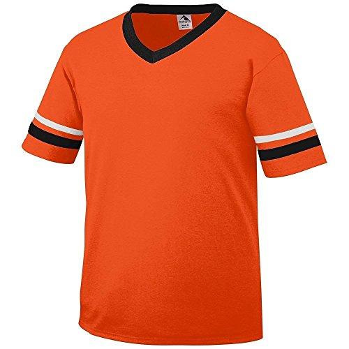 Augusta Herren T-Shirt Weiß Weiß Orange - ORANGE/BLK/WHT