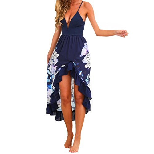 Bekleidung Longra Damen Sommer Kleid Drucken ärmellos Strandkleid Boho lange Maxi Party Cocktail Kleid Beach Sundress Blue