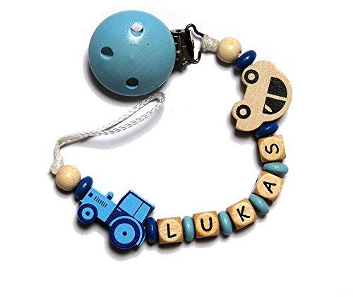 Preisvergleich Produktbild Baby Schnullerkette mit Perlen aus Holz und LUKAS. Blau mit Traktor und Auto