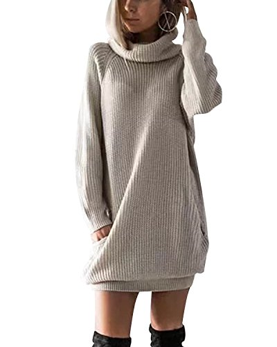 Minetom Damen Strickkleid Basic Herbst Winter Strick Pullover Sweater Party Tunika Longshirt Mini Kleid Strickkleid Pullover Kurz Minikleid Outwear Sweatkleid Beige DE 36