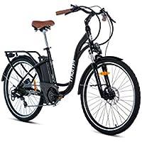 Moma Bikes E- Bike 26.2 Bicicleta Electrica de Paseo E-26.2, 7 velocidades, Adultos Unisex, Negra, Unic Size