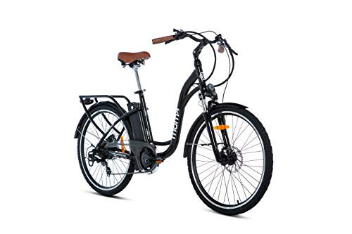 Moma Bikes Bicicleta Electrica, Urbana  EBIKE-26 ', Alu. SHIMANO 7V & Doble Freno Disco Bat. Ion Litio 36V 16Ah