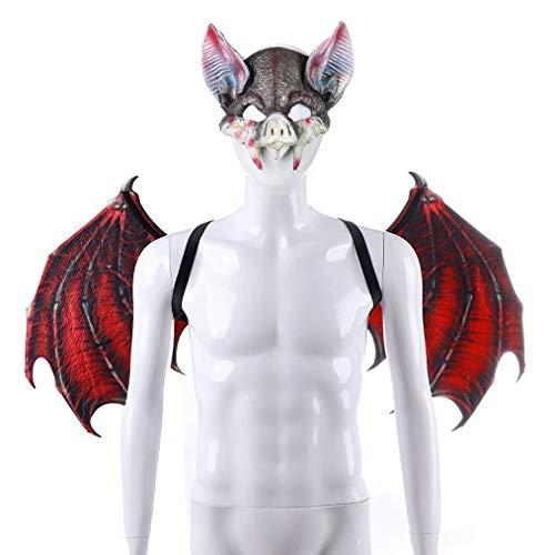Rote Flügel Fledermaus Kostüm - Learplay Fledermaus Flügel Cosplay Maske Halloween Vampire Bat Brille PU Mask Kostüm für Erwachsene Kinder