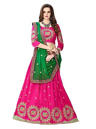 Varudi Fashion Women\'s Benglory Satin Silk Lehenga Choli (Free Size) (Pink)