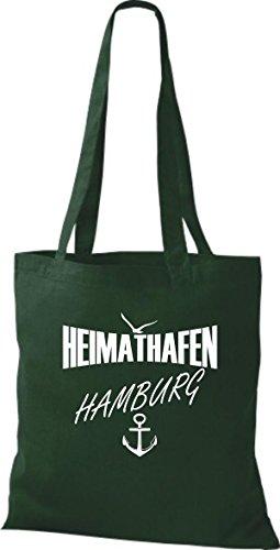 Shirtstown Stoffbeutell Heimathafen Hamburg viele Farben Grün