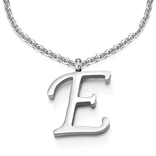 COOLSTEELANDBEYOND Nome Iniziale Lettera di Alfabeto E Ciondolo, Collana con Pendente Croce da Donna Uomo, Acciaio, 50cm Corda Catena