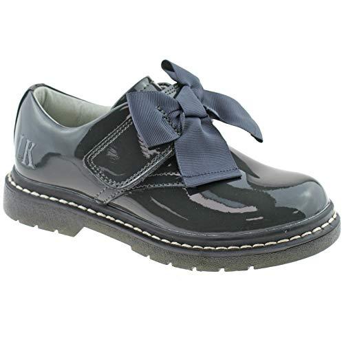 Lelli Kelly LK8284 (DR01) Irene Grey Patent School Shoes F Width-12 UK 30 EU