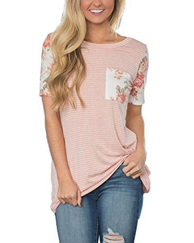 Auxo Damen Kurzarm Streifen Printing Party Club Slim T-Shirt Oberteil Tunika Tops Rosa
