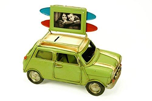 """Figura Decorativa de Metal """"Coche Mini"""" con Portafotos y Hucha. Vehículos. Adornos y Esculturas. Coleccionismo. 23 x 11 x 13 cm."""