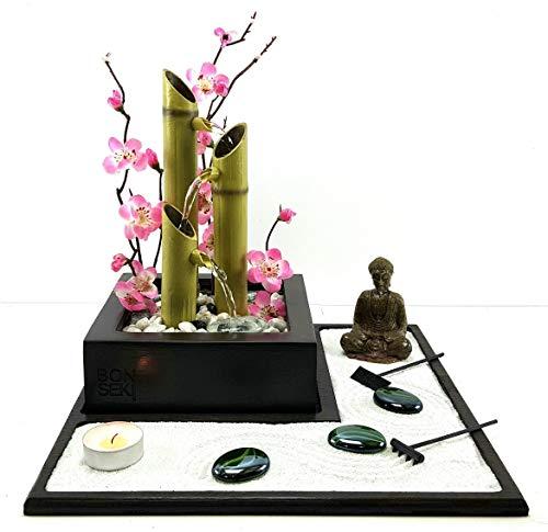 Bonseki Fontana zen Elegance, Giardino zen da tavolo con fontanella, Personalizzabile, visualizza le opzioni.