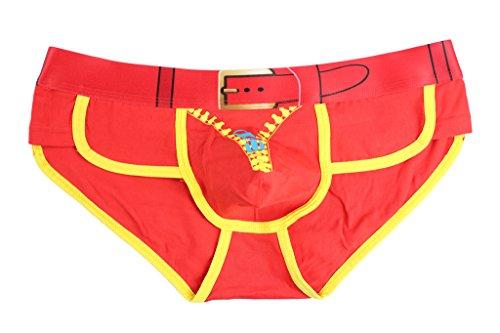 DODOING Herren Zipper 3D Printed Boxer Brief Unterwäsche Slips Unterweist Bulge Pouch Shorts Unterhosen Rot