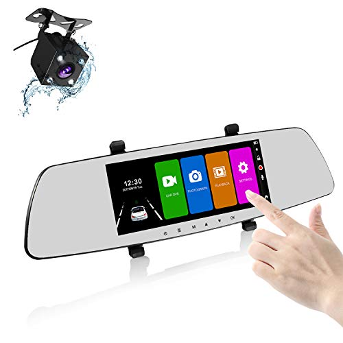 Camara Retrovisor Coche, Sendowtek Espejo Retrovisor con Camara Android 7\'\' IPS Pantalla Táctil Dashcam, Visión Nocturna, 170° Granangular, con G-Sensor Grabación De Bucle Aparcamiento Monitor