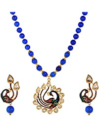 Cardinal Oynx Kundan Peacock Latest Design Stylish Traditional Necklace Pendant Set With Earring For Women/Girl