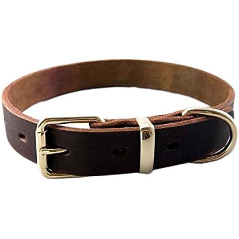 Fandecie Cuero de vaca animal doméstico del perro de perrito del gato del collar del cuello regalo ajustable correa de la hebilla del collar de corte