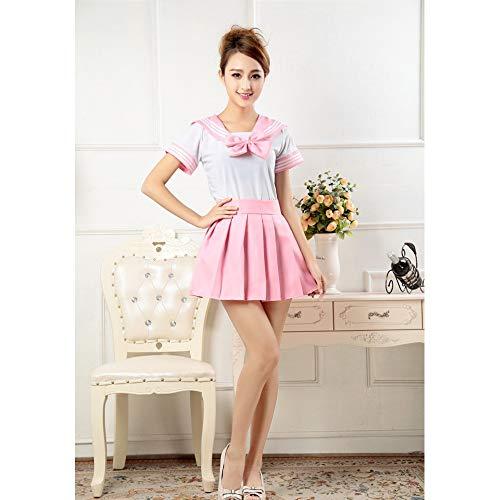 Kind Marine Uniform Kostüm - Vokaer Schuluniform Kurzarm Uniform Kleid Cosplay Kostüm Japan Anime Girl Lady Lolita,Pink