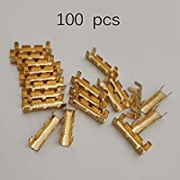Formulaone 100Pcs Dock Connectors Line Pressing Button Quick Connect Button for Wiring Terminals Electrical Connector Kit - Gold Color