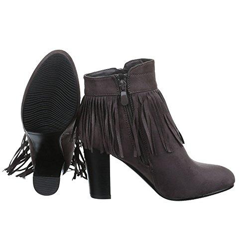 Damen Schuhe High Heels Schlupfstiefel Reißverschluss High Heel Stiefeletten  Stiefeletten Pump Grau ...