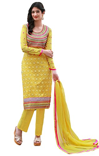 Justkartit Women's Semi-Stitched Yellow & Pink Colour Georgette Salwar Kameez For Party...
