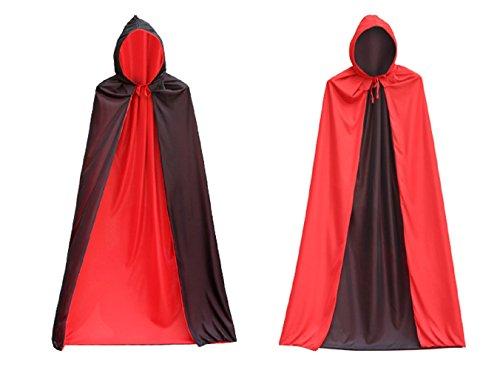 (ToullGo Shop Halloween Umhang Cape Unisex,Langer Umhang mit Kapuze,Kapuze Vampir Zauberer Ritter Cosplay Kostüm Halloween Karneval Party Cosplay für Erwachsene / Kinder)