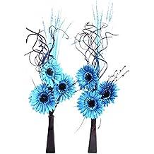 Enlace productos juego de 2 jarrones de cristal con flores artificiales y plantas azul turquesa azul