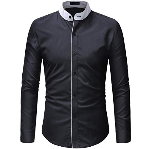 Pullover Einfarbig Langarm-T-Shirt Top Oberteile(Schwarz,EU-52/CN-3XL) ()