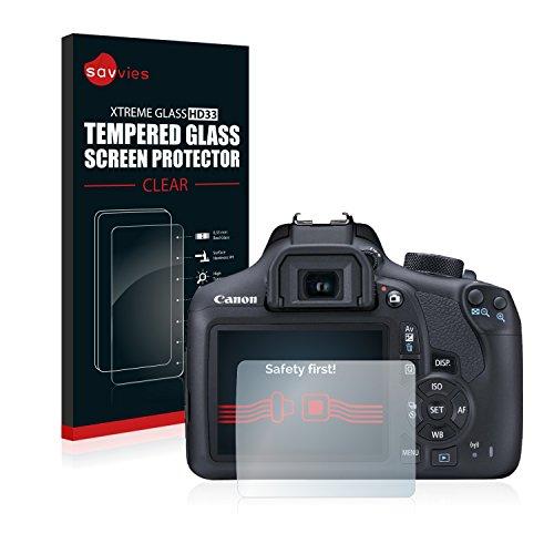 Savvies Protector Cristal Templado Canon EOS 1300D Protector Pantalla Vidrio - Dureza 9H