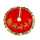 BESTOYARD Weihnachtsbaum Rock Rentier Schlitten Muster Weihnachtsbaumdecke mit Golden Kanten Tannenbaum Unterlage Weihnachtsdeko 90cm (Rot)