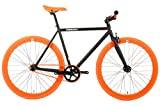 FabricBike - Original Collection, Hi-Ten Stahl Schwarz, Fahrrad Fixed Gear, Single Speed, Urban Commuter, 3 Farben und 3 Größen, 10 Kg (Matte Black & Orange, M-53cm)