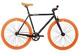 FabricBike - Original Collection, Hi-Ten Stahl Schwarz, Fahrrad Fixed Gear, Single Speed, Urban Commuter, 3 Farben und 3 Größen, 10 Kg (Matte Black & Orange, L-58cm)
