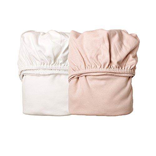 Leander 2er-Pack Laken Spannbetttücher Babywiege, Farbe: 1x Soft Pink + 1x Weiß