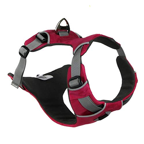 Embark Active Dog Harness, Easy On And Off With Front And Back Lead Attachments Control Handle - No Pull Training, Size Adjustable,Pink-M