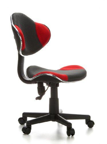 HJH Office 633002 chaise de bureau enfant, chaise junior KIDDY GTI-2 gris/rouge sans accoudoirs, hauteur réglable 40-55 cm, dossier ergonomique et assise galbée