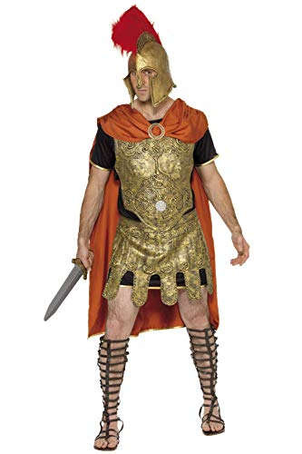 Kostüm Brustplatte - Smiffys, Herren Römischer Soldat Kostüm, Umhang, Tunika, Brustplatte und Rock, Größe: M, 20375