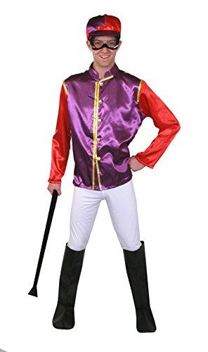 Erwachsenen Jockey Kostüme Pferd (JOCKEY VARIATION = 2 KOSTÜME STEHEN ZUR AUSWAHL BEIDE KOSTÜME SIND ERHALTBAR IN 5 VERSCHIEDENEN GRÖSSEN =BEIDE KOSTÜME SIND 5 TEILIG IN WEIß/GRÜN/GELB ODER IN LILA/ORANGE = VON ILOVEFANCYDRESS®=FÜR VERKLEIDUNGEN)