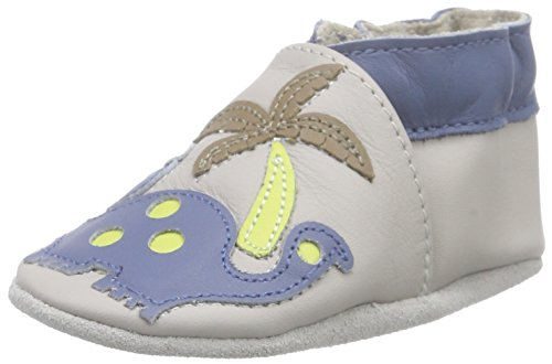Robeez Dino Club, Chaussures de Naissance bébé garçon, Gris (Gris Clair), 21/22 EU